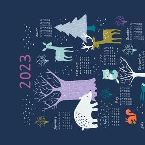 Winter Woodland at night tea towel calendar 2021
