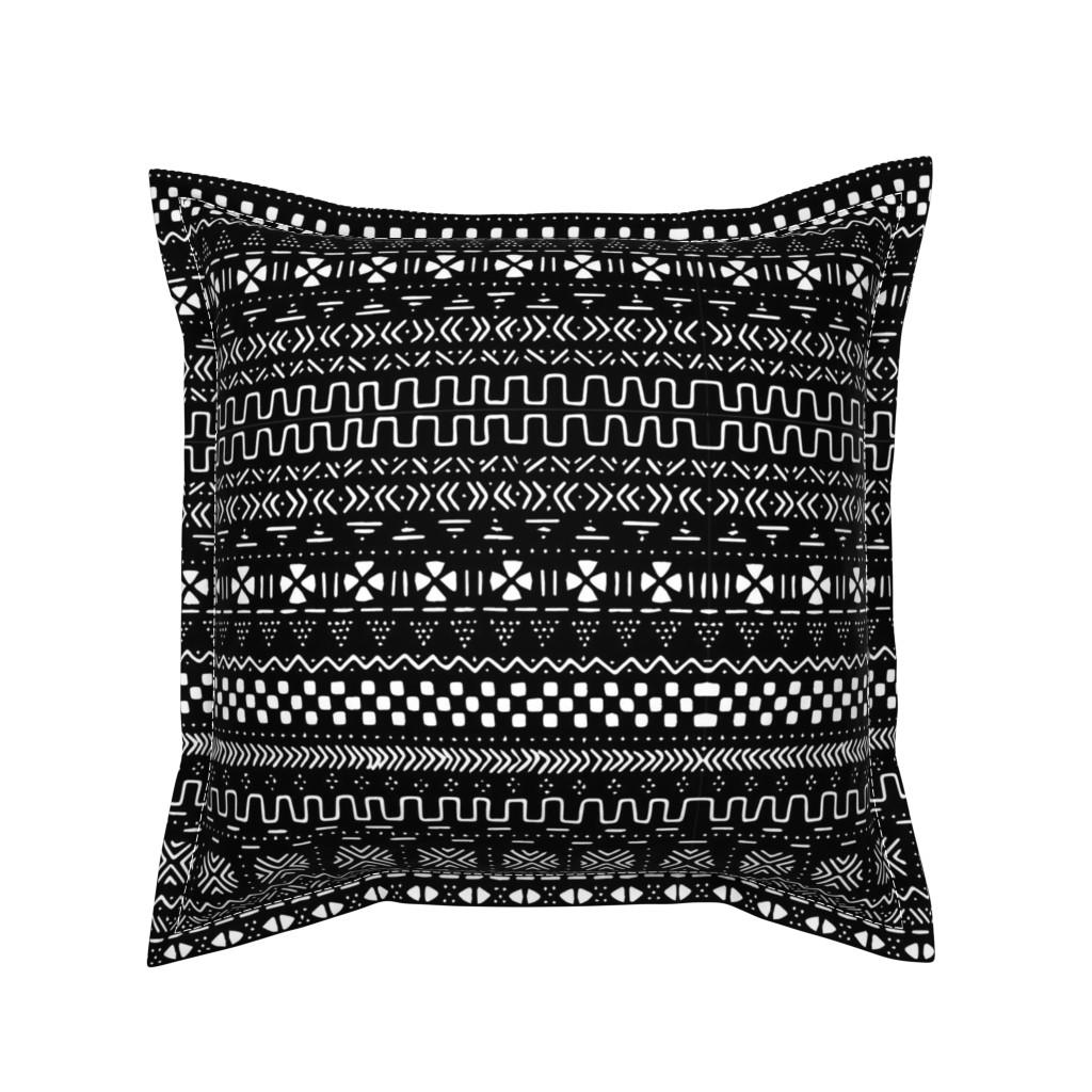 Serama Throw Pillow featuring Medium Black Mudcloth by brainsarepretty