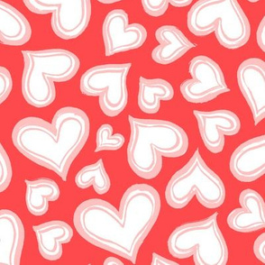 Valentines love hearts -  red pink - Large