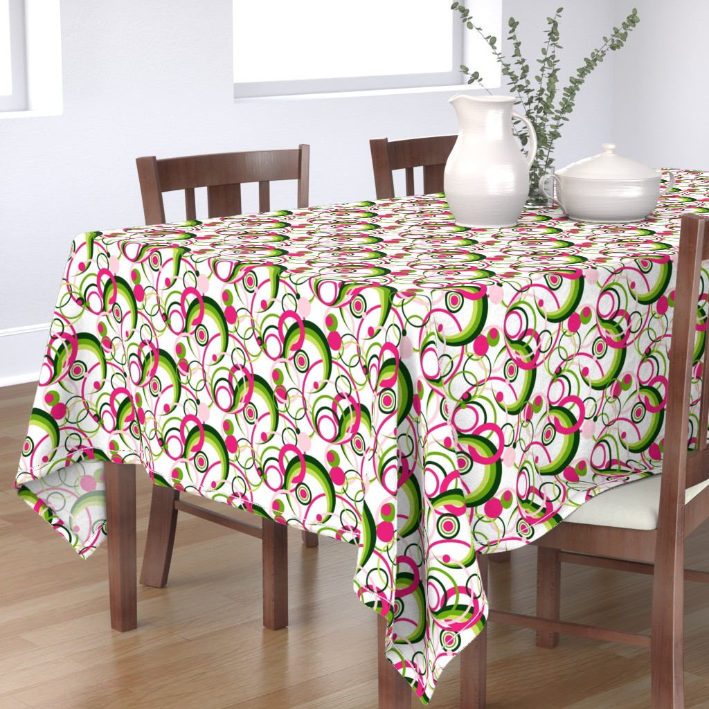 Bantam Rectangular Tablecloth featuring Circlestances on White by artsytoocreations