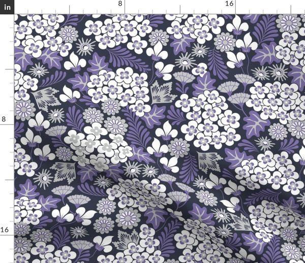 "Quilting fabric /""Blooms/"" bright purple yellow blue irises large print"