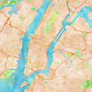 New York City watercolor map