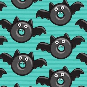 bat - vampire - halloween donuts on teal
