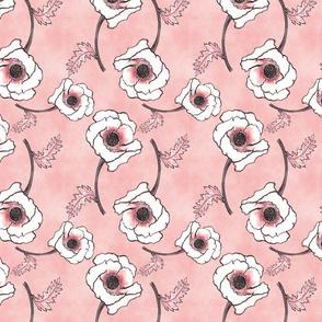 Line-work Poppy Dusty Rose Background