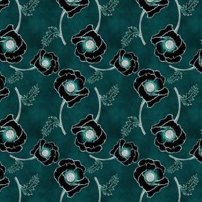Line-work Poppy Inverted Dark Blue-Green Background
