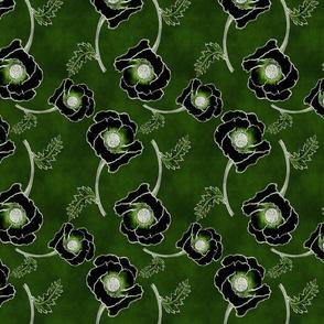 Line-work Poppy Inverted  Emerald Green BG