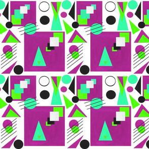 Bauhaus Paper Cut-outs Fuchsia & Green
