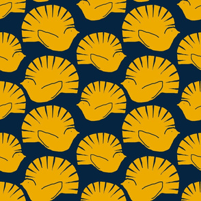 woodblock fantails gold navy