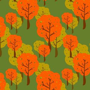 retro trees orange and green