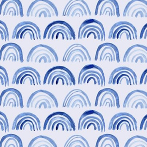 Watercolor archs on blue || abstract painted pattern