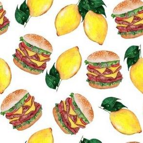 burger and lemon