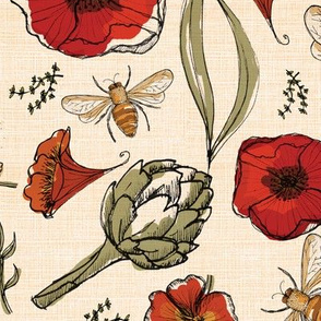 The art of bee keeping  Bees Artichoke Poppy Floral 4 inch poppy