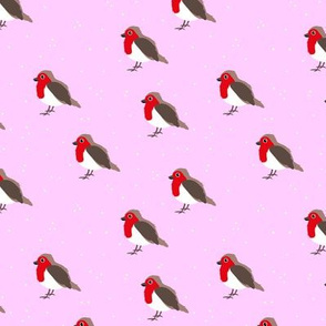 Winter wonderland red robin birds in snow pink red  girls SMALL