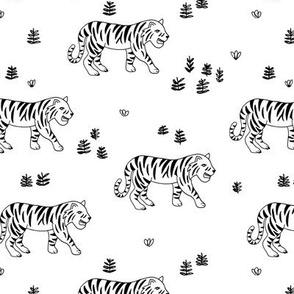 Jungle love tiger safari garden sweet hand drawn tigers pattern monochrome black and white