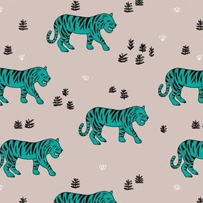 Jungle love tiger safari garden sweet hand drawn tigers pattern teal beige black winter
