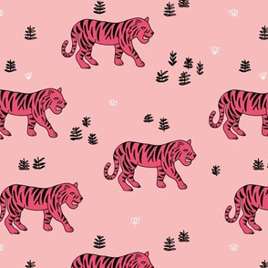Jungle love tiger safari garden sweet hand drawn tigers pattern pink magenta black and white