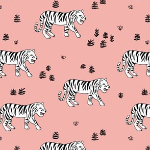 Jungle love tiger safari garden sweet hand drawn tigers pattern pink black and white