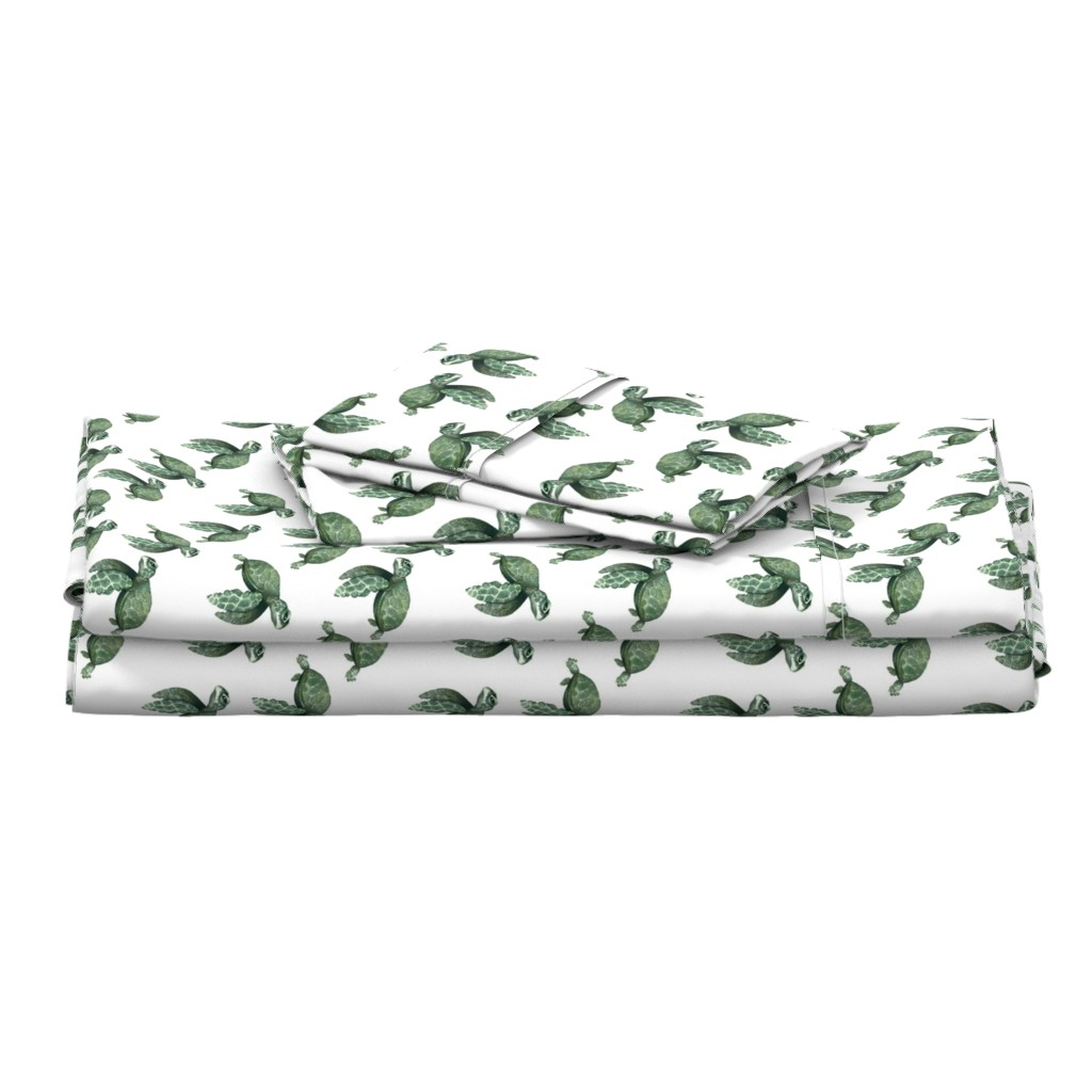 Langshan Full Bed Set featuring Quiet Sea Turtles - Smaller Scale by taraput
