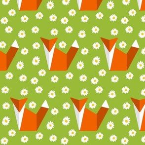 origami fox in daisies