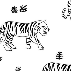 Jungle love tiger safari garden sweet hand drawn tigers pattern monochrome black and white LARGE