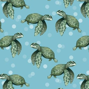 Quiet Sea Turtles on Blue with Bubbles - Smaller Scale