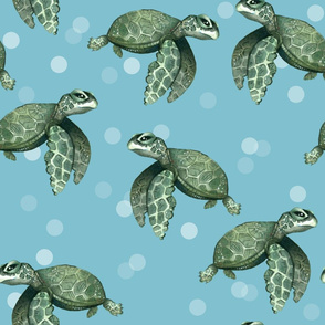 Quiet Sea Turtles on Blue with Bubbles - Larger Scale