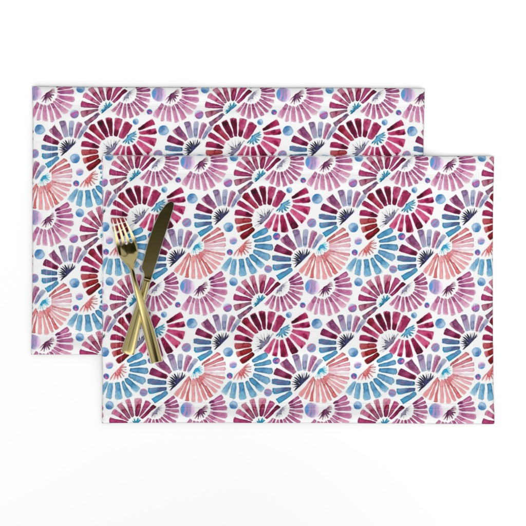 Lamona Cloth Placemats featuring watercolor paper fans  by colorofmagic
