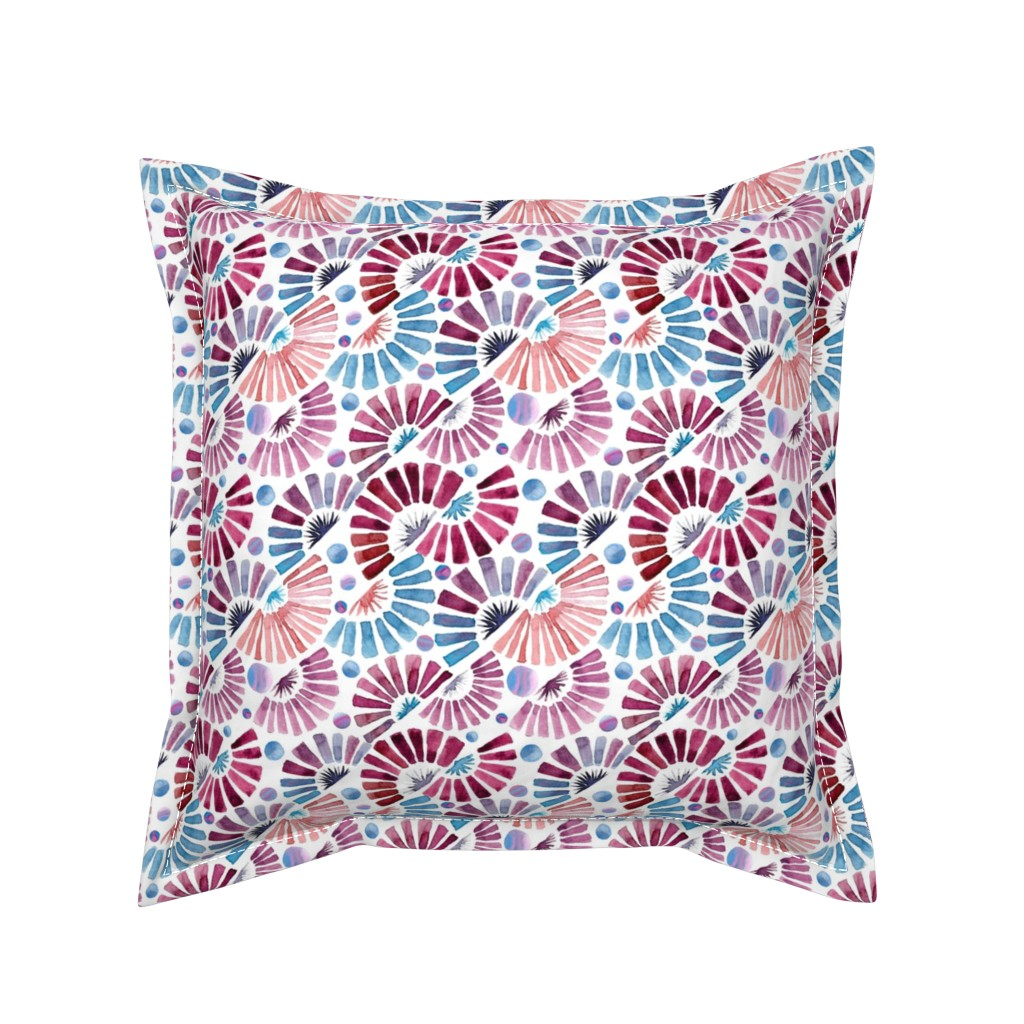 Serama Throw Pillow featuring watercolor paper fans  by colorofmagic