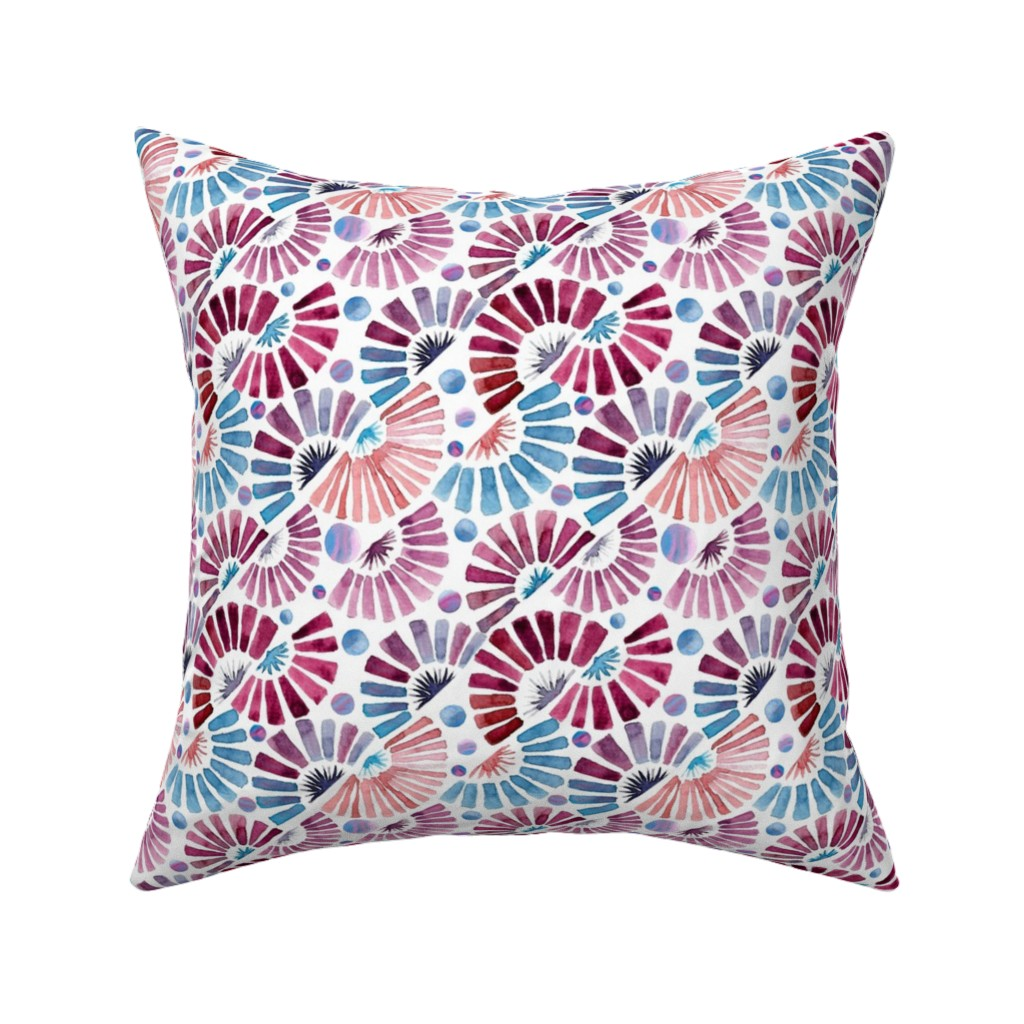 Catalan Throw Pillow featuring paper fan festival by colorofmagic