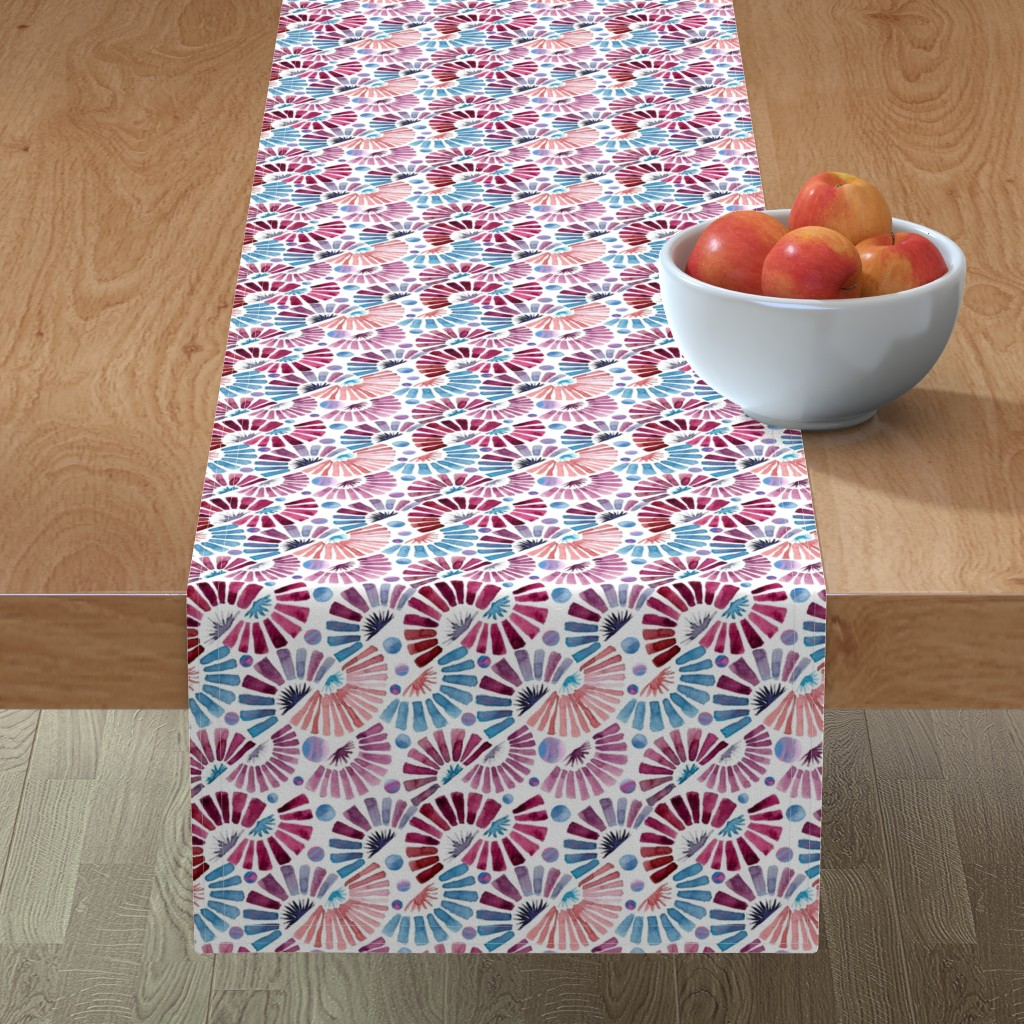 Minorca Table Runner featuring paper fan festival by colorofmagic