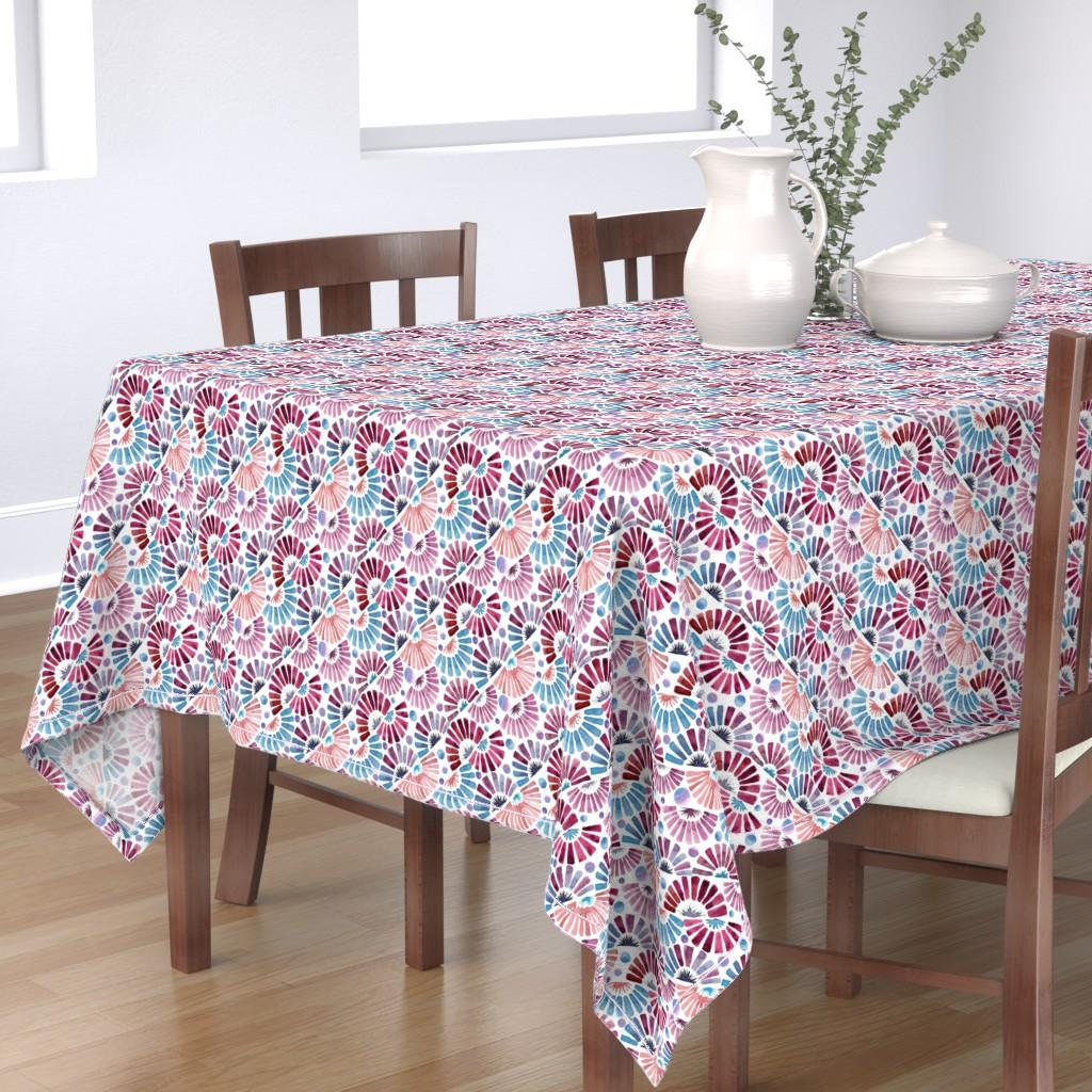 Bantam Rectangular Tablecloth featuring paper fan festival by colorofmagic