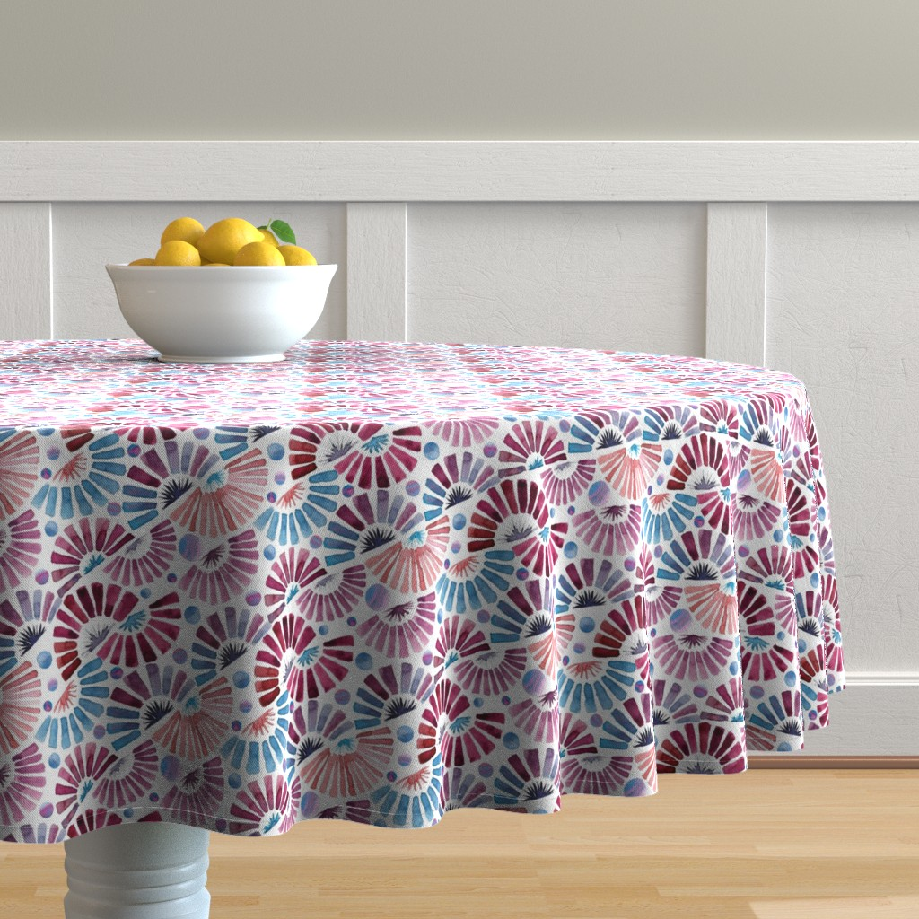 Malay Round Tablecloth featuring paper fan festival by colorofmagic