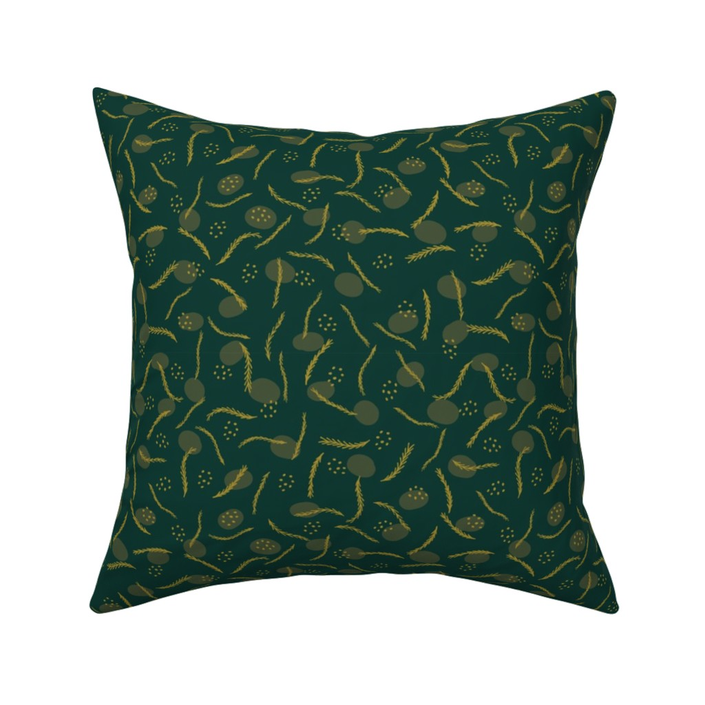 Catalan Throw Pillow featuring Gold and Dark Green Christmas Branches by limolida