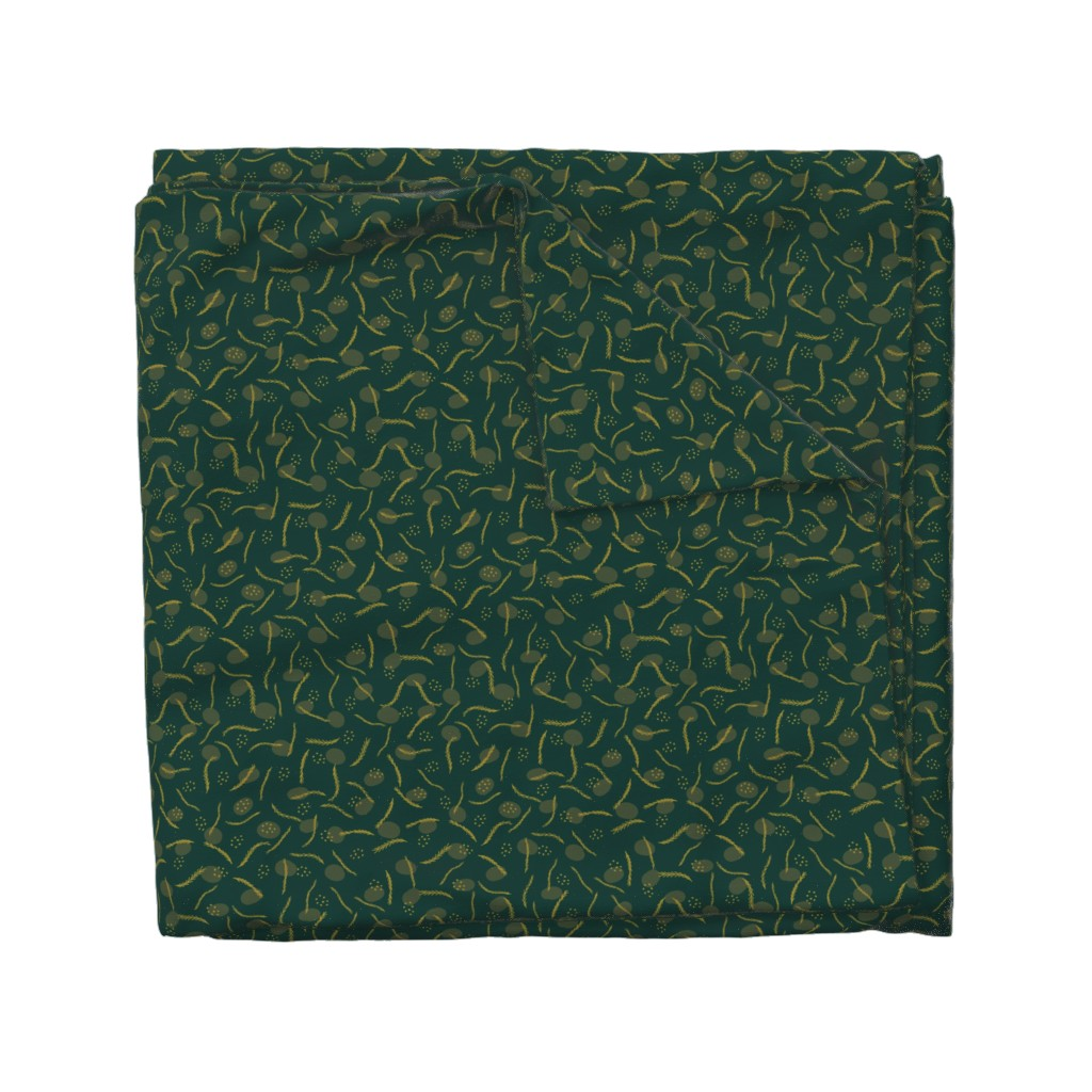 Wyandotte Duvet Cover featuring Gold and Dark Green Christmas Branches by limolida