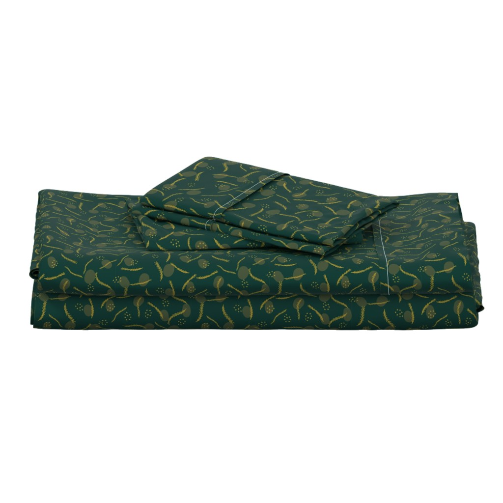 Langshan Full Bed Set featuring Gold and Dark Green Christmas Branches by limolida