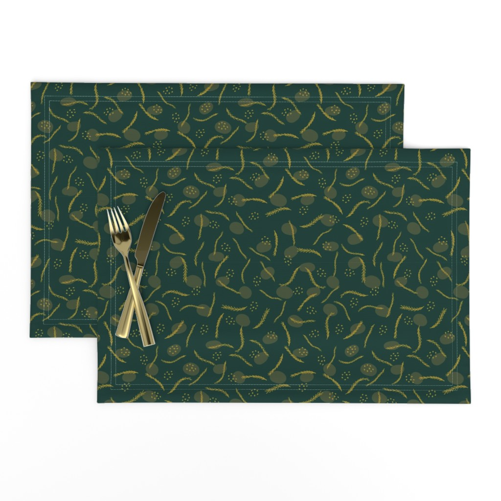 Lamona Cloth Placemats featuring Gold and Dark Green Christmas Branches by limolida