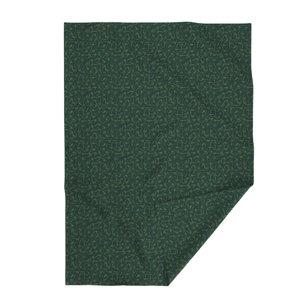 Lakenvelder Throw Blanket featuring Gold and Dark Green Christmas Branches by limolida