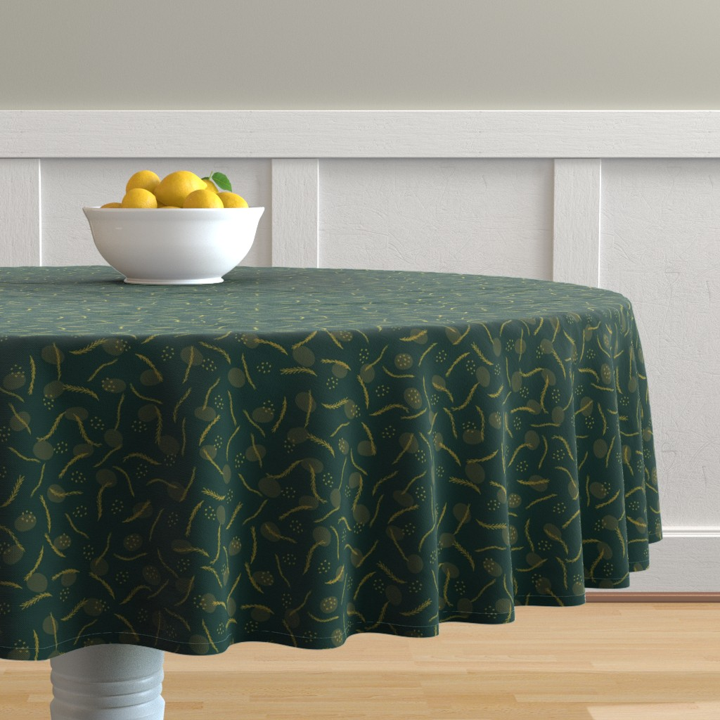 Malay Round Tablecloth featuring Gold and Dark Green Christmas Branches by limolida