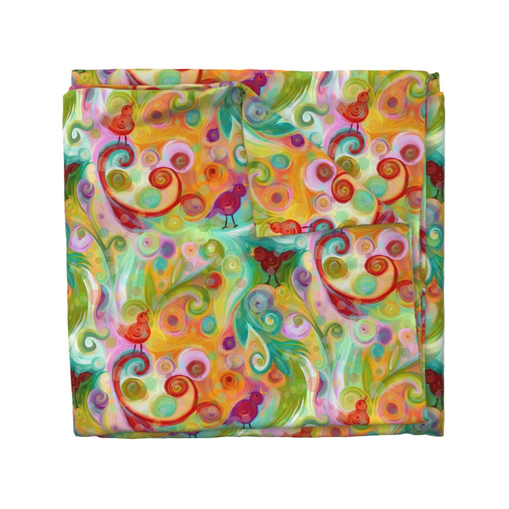 Wyandotte Duvet Cover featuring colorful circles of friends by designed_by_debby
