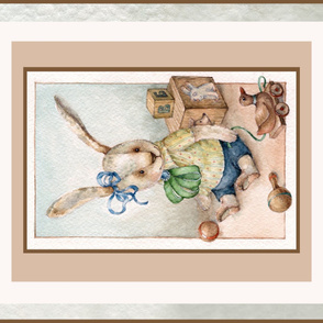 antique Plush toy Bubby Rabbit Crib Blanket panel