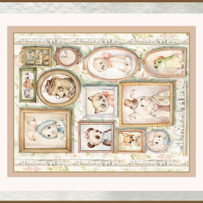 antique Plush toy Annimals Crib Blanket panel