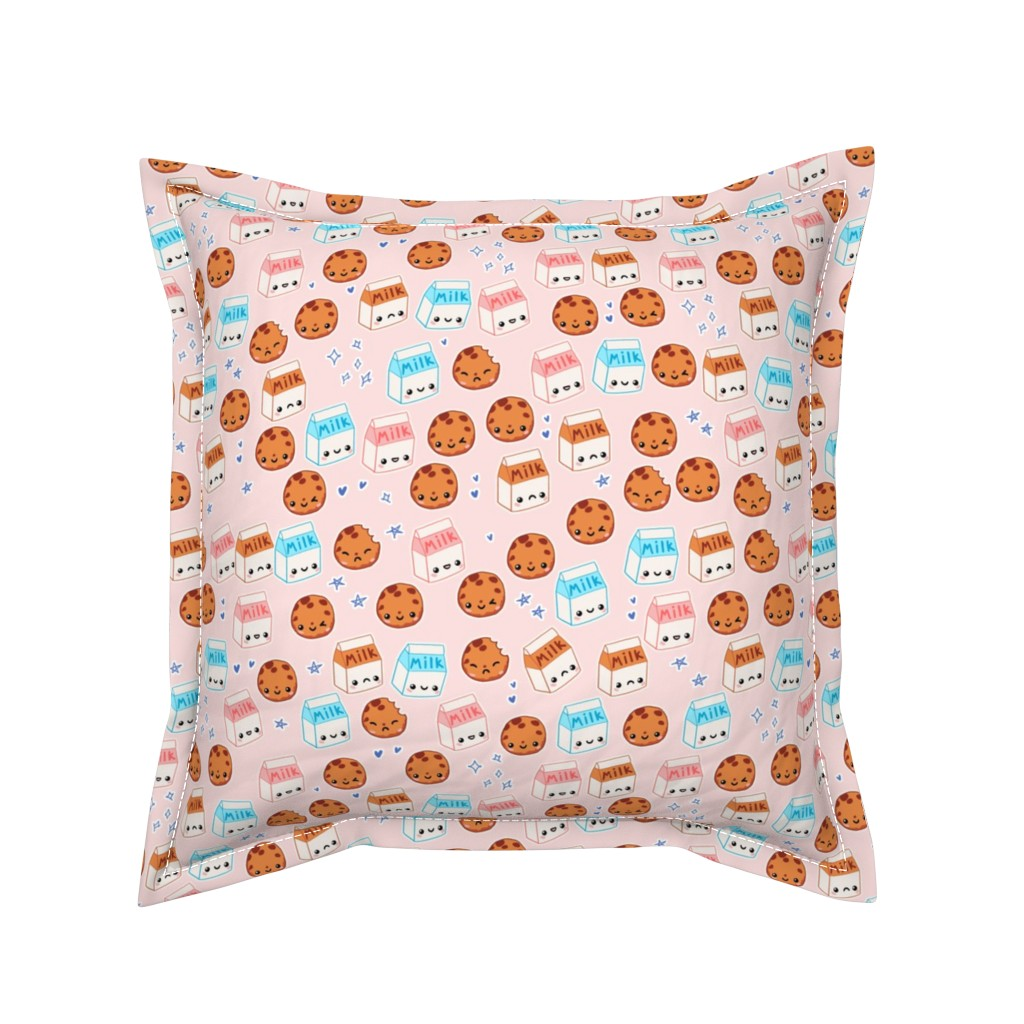 Serama Throw Pillow featuring Milk n Cookies on Pink - Kawaii Foods by noeldraws