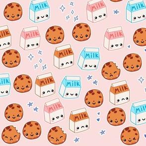 Milk n Cookies on Pink - Kawaii Foods