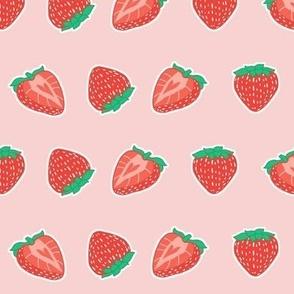 Kawaii Strawberries on Pink