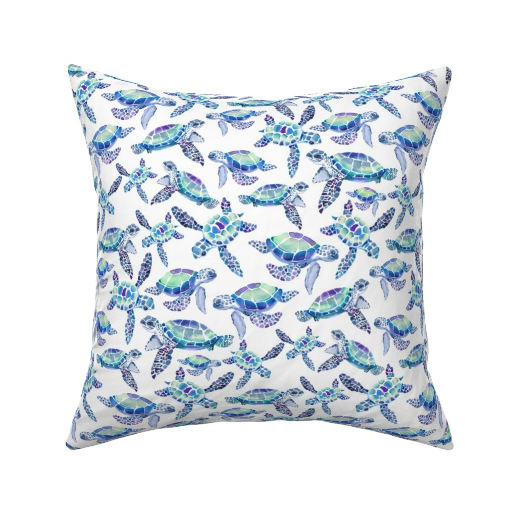 Catalan Throw Pillow featuring Turtles in Aqua and Blue by gingerlique