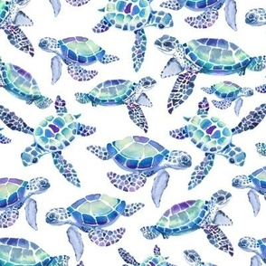 Turtles in Aqua and Blue