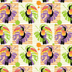 Watercolor Toucans and palm leaves