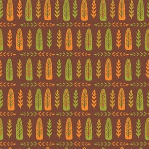 Fall Leaf Folk Art, Orange Green Brown