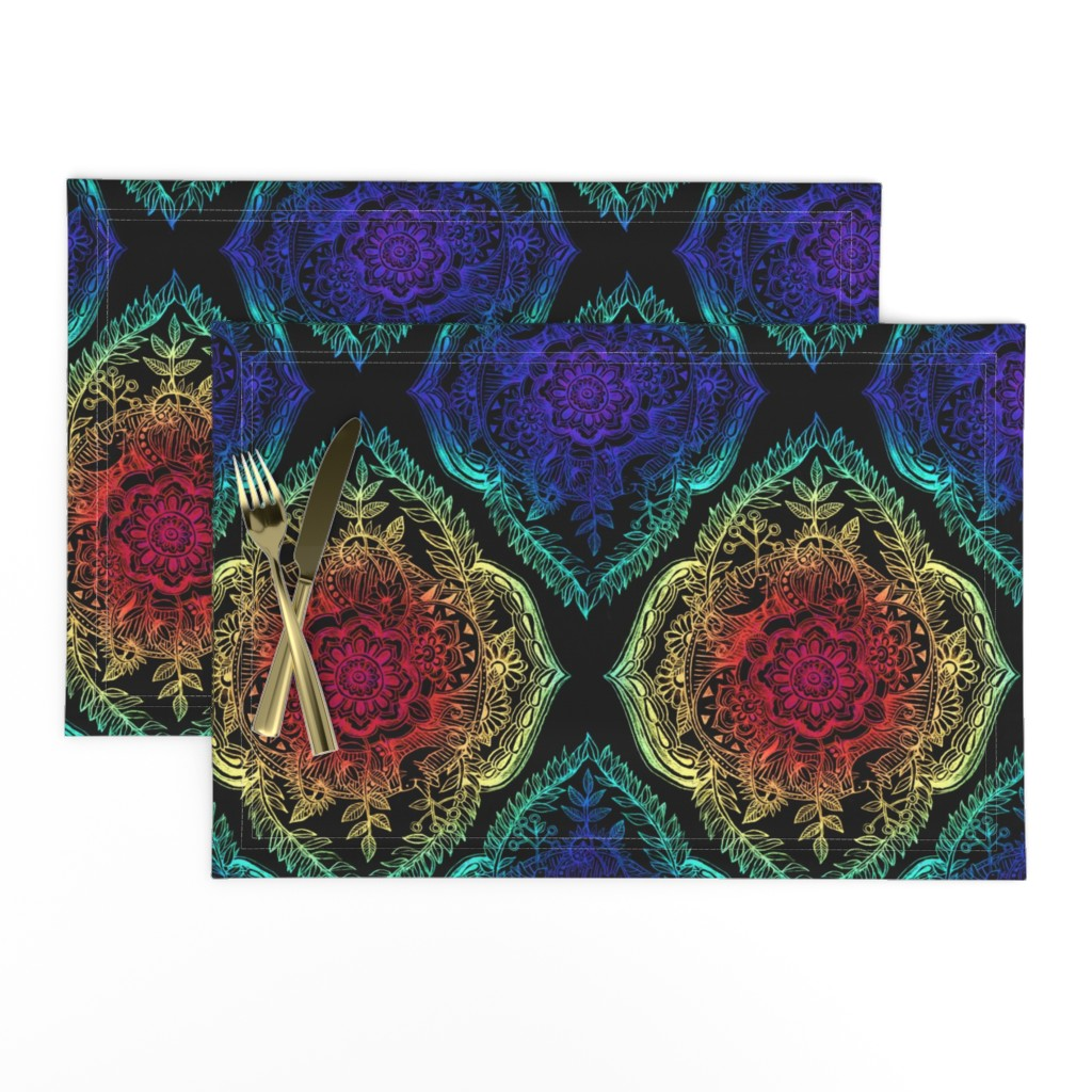 Lamona Cloth Placemats featuring Indian Ink - Rainbow version on Black by micklyn
