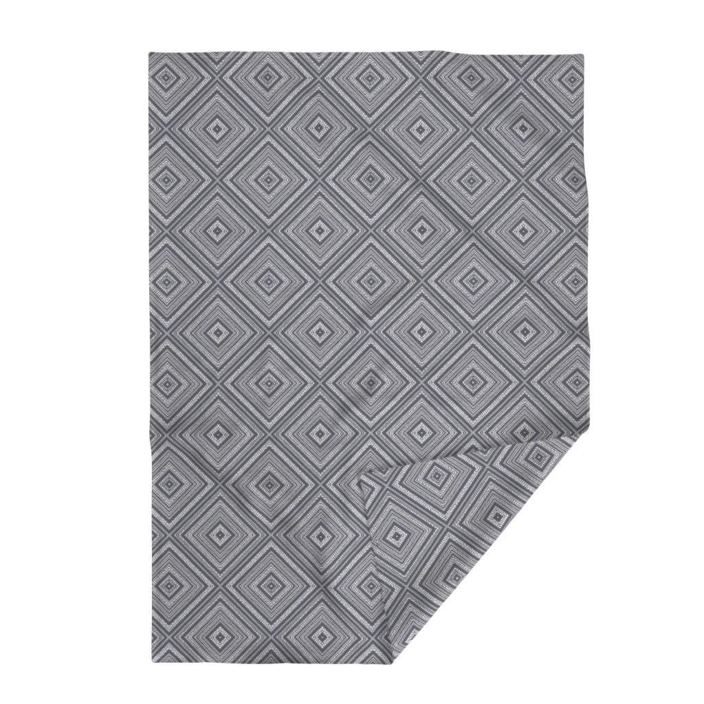 Lakenvelder Throw Blanket featuring Boho Diamonds White on Lava Rock 600 by kadyson